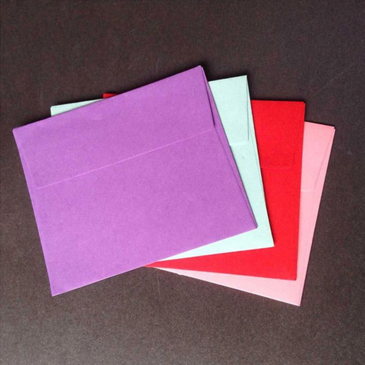 通用贺卡彩色信封 空白西式牛皮信封 明信片包装 可定制LOGO