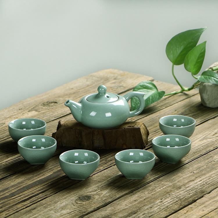 厂家直销 7头哥窑茶具套装 陶瓷茶具 功夫茶具 茶壶茶杯礼品定制