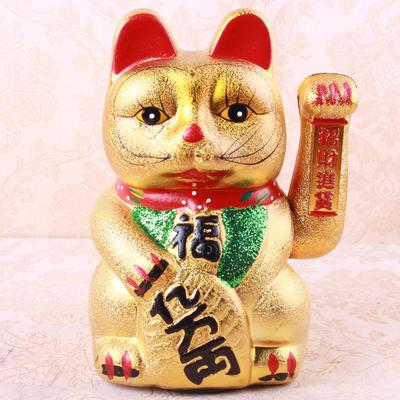 实体店爆款 陶瓷招财猫摆件工艺品 金色招财猫 开业礼品礼物