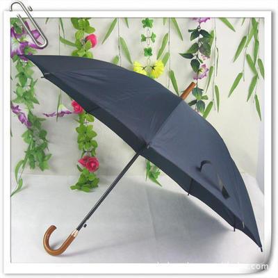 厂家直批木把直杆弯把防雨绸10片广告伞 长柄钢架雨伞 太阳伞印字