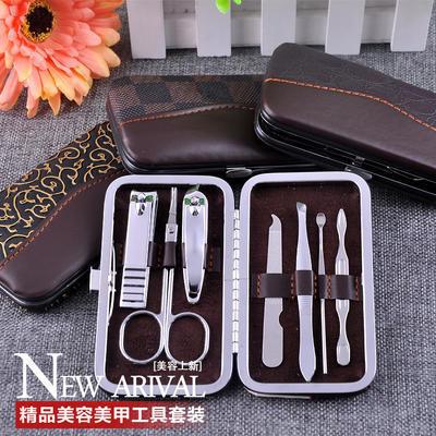 创意7件美容套修剪脚甲刀指甲钳指甲剪护甲化妆美甲套装