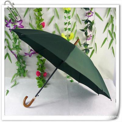 销售订制木把直杆弯把防雨绸10片广告伞 钢架礼品雨伞 印字太阳伞