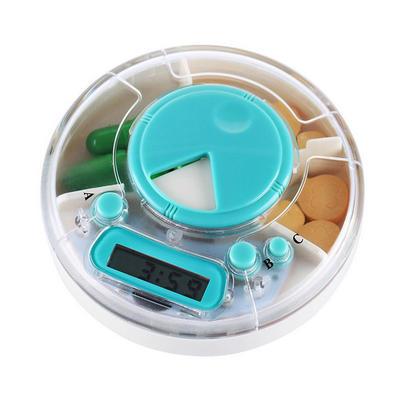 定制 便携电子智能圆形药盒 定时闹钟提醒药盒 透明分格药盒