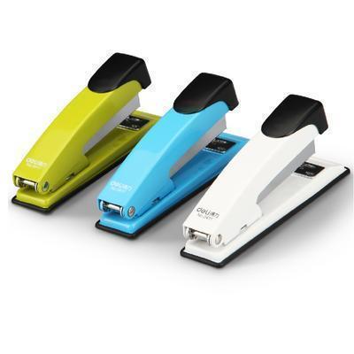商务办公用品 deli0411正品彩色订书机 12号针 定制LOGO