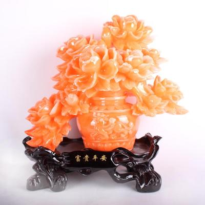 爆款富贵平安树脂工艺品摆件 商务礼品彩色桔色随机发