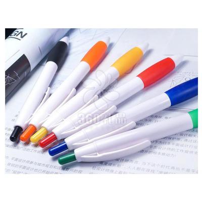 厂家直销展销会礼品 彩色橡胶笔握圆珠笔 塑料 按动 广告笔定制