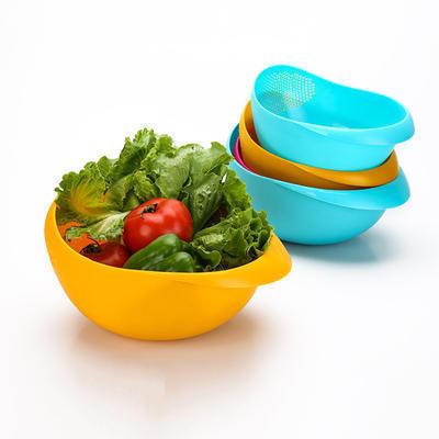 炫彩加厚厨房淘米器 洗米筛淘米盆 塑料篮沥水洗菜篮水果篮