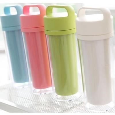 礼品定制 时尚礼品塑料保温杯 环保防漏手提双层保温杯