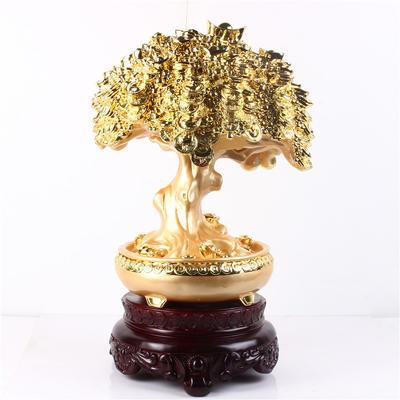 【新款】金间红中国风树脂工艺品!  发财树摆件
