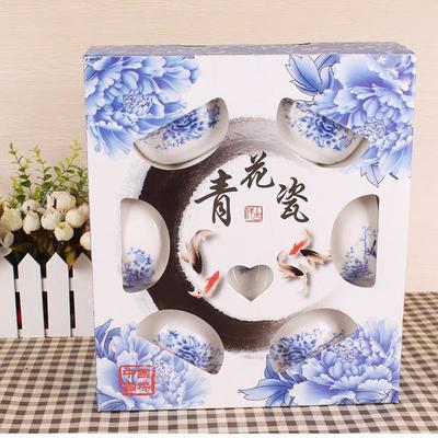 促销礼品 陶瓷餐具六件套 12头青花瓷套装(泡沫装) 定制LOGO