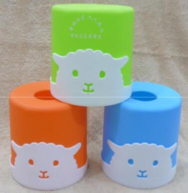 可爱动物圆筒塑料抽纸盒/纸巾抽/纸巾盒/黑色咖啡色底座/纸巾座