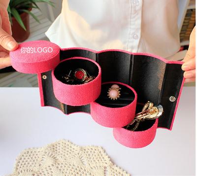 新款首饰盒 绒布圆筒三层收纳珠宝饰品包装盒 可印刷订做LOGO定制