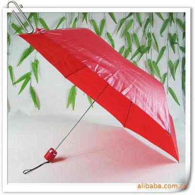 销售口红伞 三折叠广告装饰伞 红色雨伞定做 防紫外线太阳伞 印字