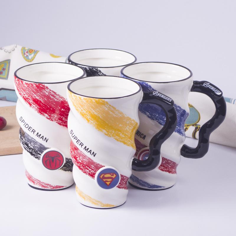爆款复仇者联盟  马克杯大容量螺旋杯家用陶瓷咖啡杯