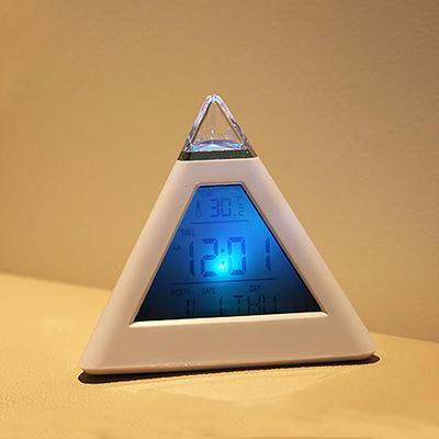 定制 金字塔七彩钟 变色心情三角闹钟 广告logo定制