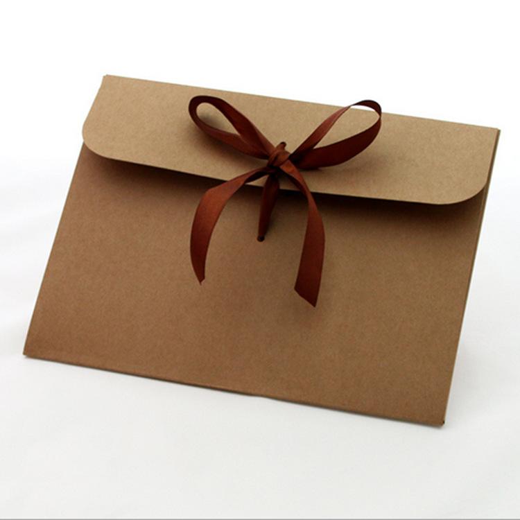 棕色牛皮纸传统丝带蝴蝶结信封定制批发 可烫金印刷 来图加工