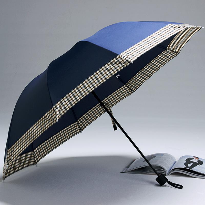 爆款推荐时尚男士创意晴雨伞十骨防风折叠太阳伞 广告伞厂家定制