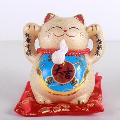 金色招财猫大吉大利陶瓷猫摆件储钱罐开业创意礼品