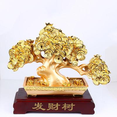 【新款】精品镀金发财树工艺品 家居招财树摆件