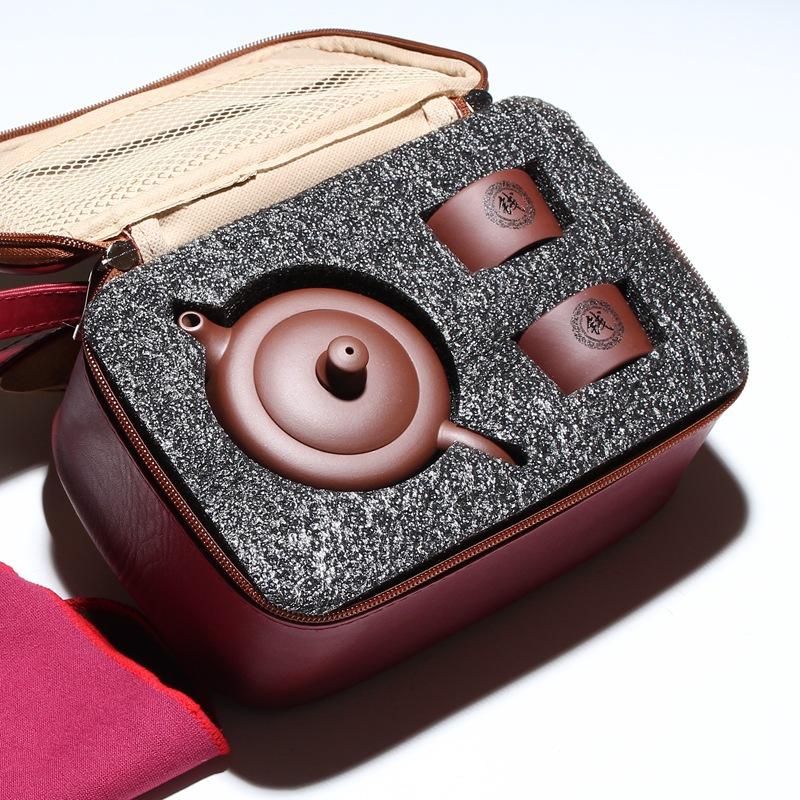 定做户外车载便携旅行茶具套装宜兴茶壶紫砂壶百家姓礼品LOGO定制